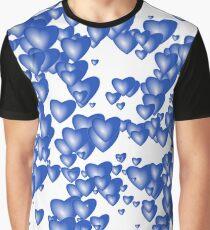 Blue heart pattern Graphic T-Shirt