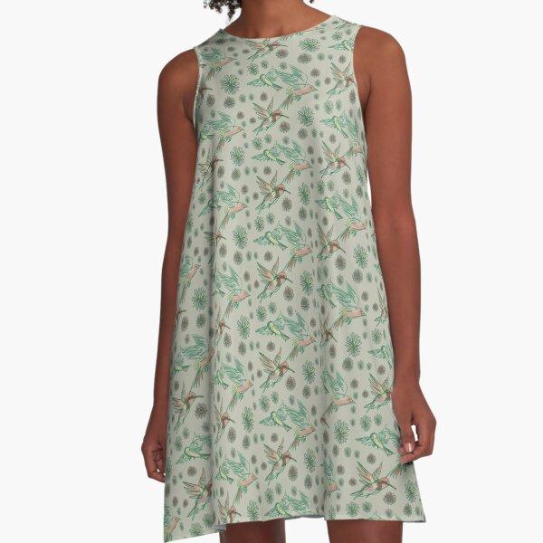 Flying birds Green A-Line Dress