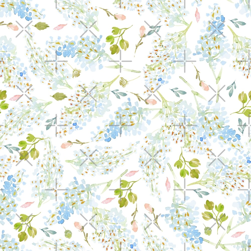 Classy Light Blue Floral Pattern by GirlyGirl