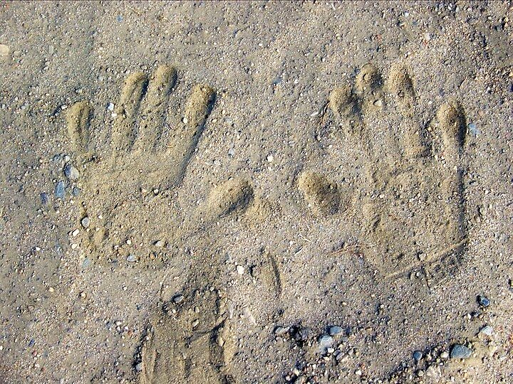hand prints in the sand by conilouz