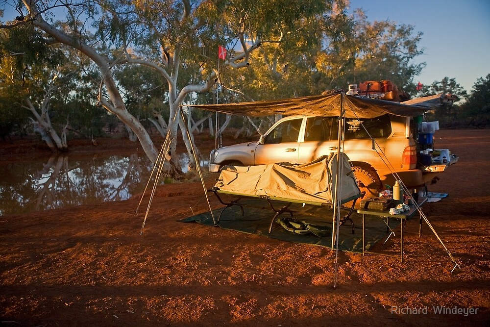 Camping at North Pool, Canning Stock Route, WA by Richard  Windeyer
