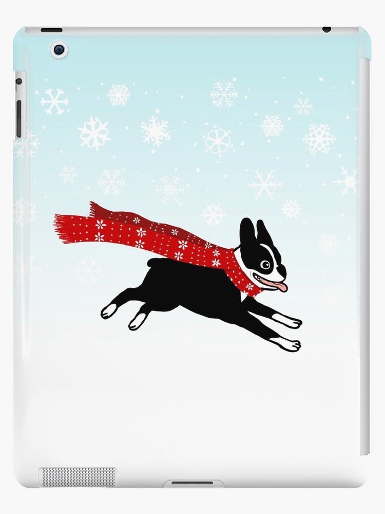 Holiday Boston Terrier Wearing Winter Scarf by Jenn Inashvili