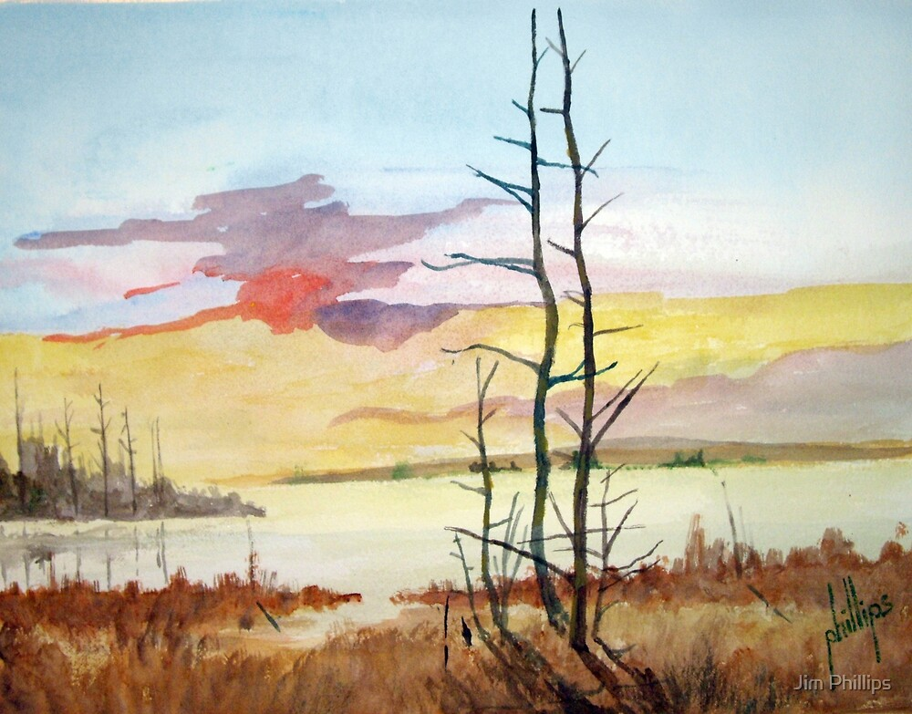 Sunset Looking Over Bouge Sound by Jim Phillips