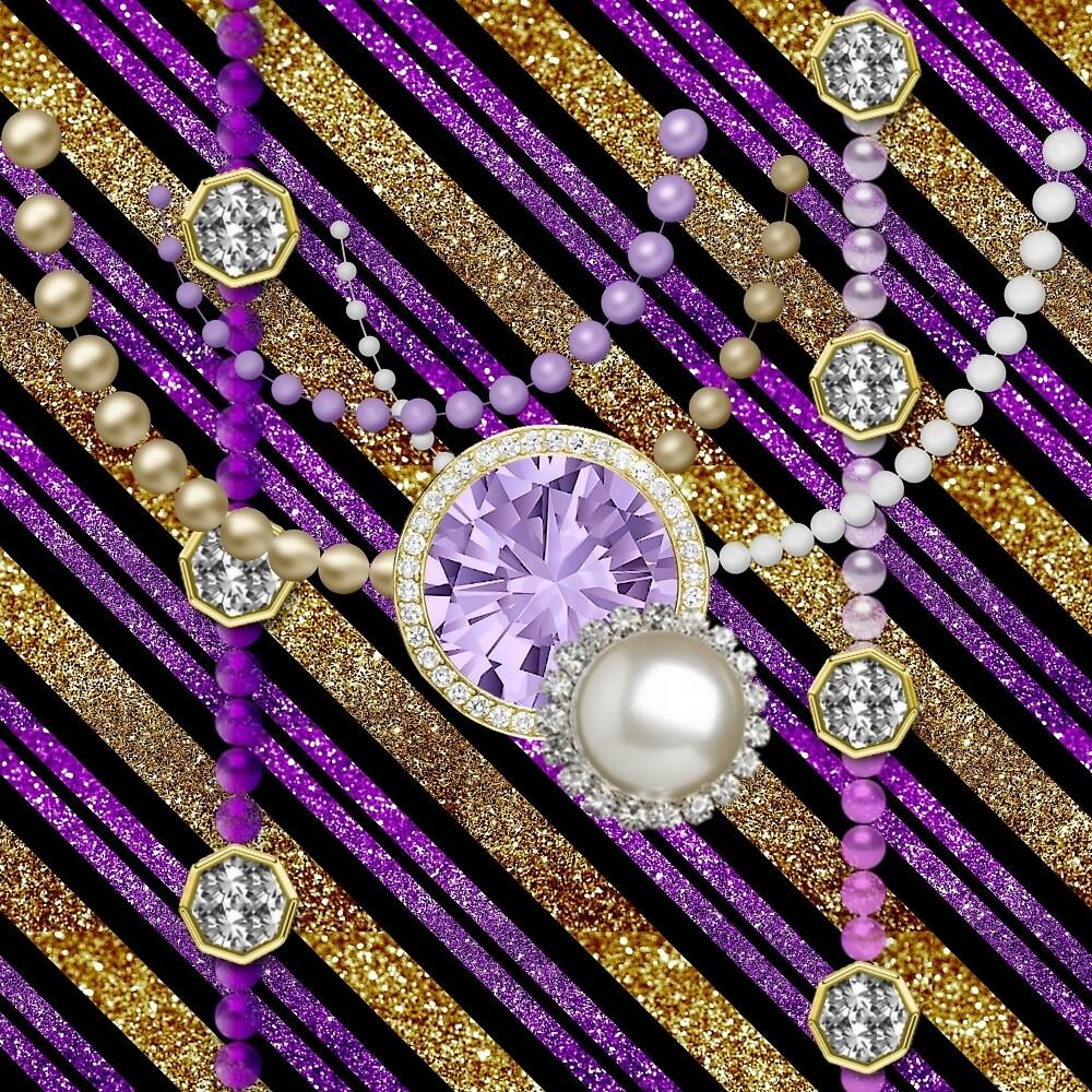 Faux Glitter & Jewels Purple & Gold Tones by moondreamsmusic