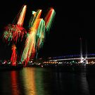 Docklands fireworks and Bolte bridge by Robyn Lakeman