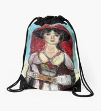Lady With Red Feather Hat(after Lawrence) Drawstring Bag