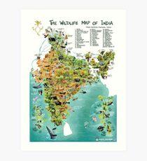 The Wildlife Map of India Art Print