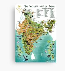 The Wildlife Map of India Canvas Print