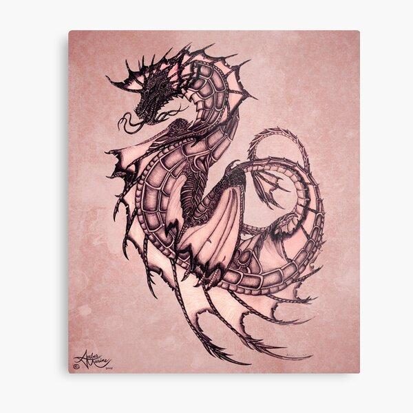 """Tsunami"" Sea Dragon, art by Amber Marine ~ (Coral Version) ~ Graphite Illustration (Copyright 2005) Metal Print"