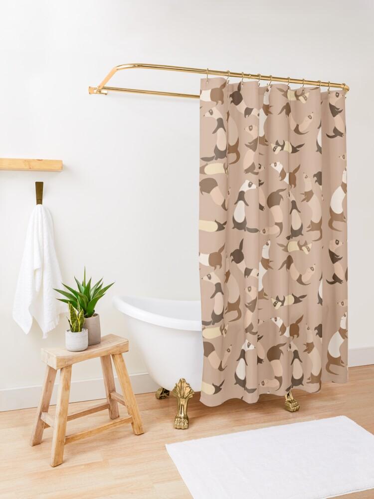 Alternate view of Ferret in light brown Shower Curtain