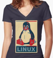 Linux Tux Women's Fitted V-Neck T-Shirt
