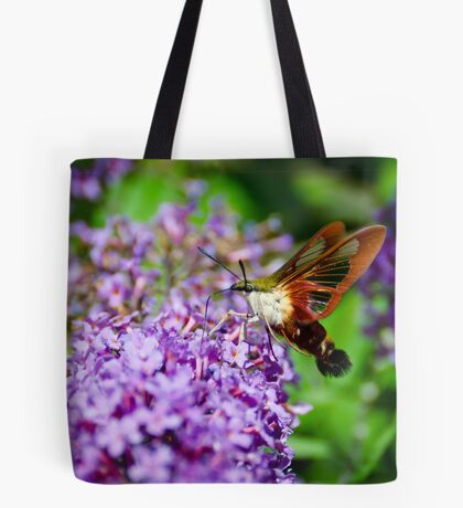 Hummingbird Clearwing on Butterfly Bush Tote Bag