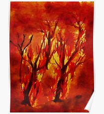 Fire!! Natural Disasters, for Series, Watercolor Poster