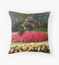 Flowerbed in Pitlochry, Scotland Throw Pillow