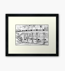 Getty Villa Pen and Ink Sketch Framed Print