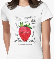 Watercolor strawberry Womens Fitted T-Shirt
