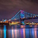Benjamin Franklin Bridge at Night by Michael Mill