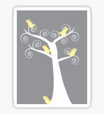 5 Yellow Birds in a Tree (Gray Background) Sticker