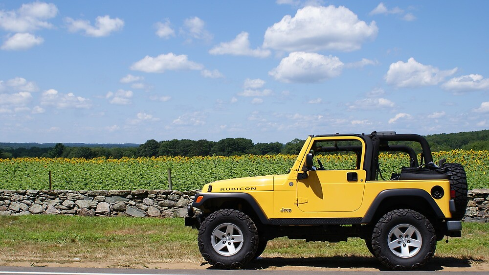 """""""Yellow Jeep against Yellow Sunflowers"""" by kalitarios ..."""