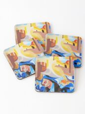Composition Painting Castle Introspection Coasters