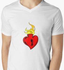 flaming heart Mens V-Neck T-Shirt