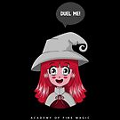 Gamer Girl | Duel Me | Academy of Fire Magic | Black Background Red Hair by Design Kitty