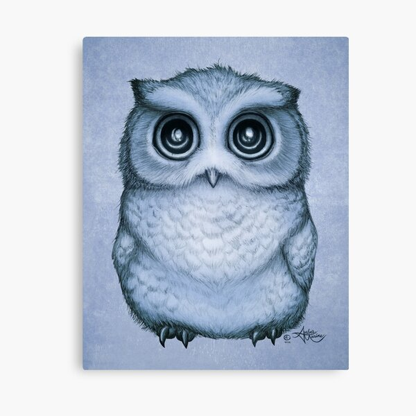 """The Little Owl"" by Amber Marine, (Blueberry Version) Pencil and Ink Illustration (Copyright 2016) Canvas Print"
