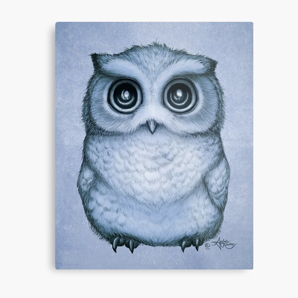 """""""The Little Owl"""" by Amber Marine, (Blueberry Version) Pencil and Ink Illustration (Copyright 2016) Metal Print"""