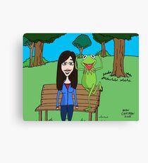 Krista Allen & Kermit the frog - tribute cartoon / comic art Canvas Print