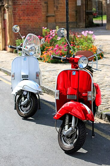 Red and White Scooters by Chris L Smith