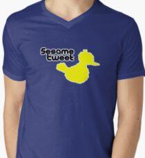 Sesame Tweet - Black Text Mens V-Neck T-Shirt