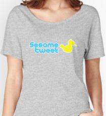 Sesame Tweet - Blue Text V.2 Women's Relaxed Fit T-Shirt