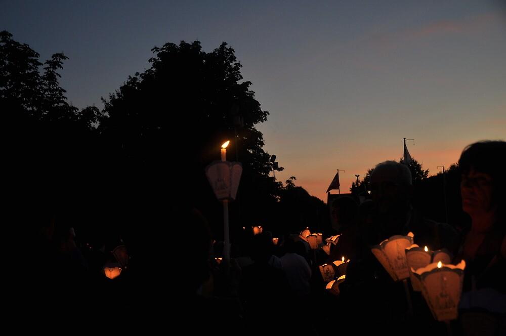 Evening Procession, International Military Pilgrimage, Lourdes, France by marymdmed