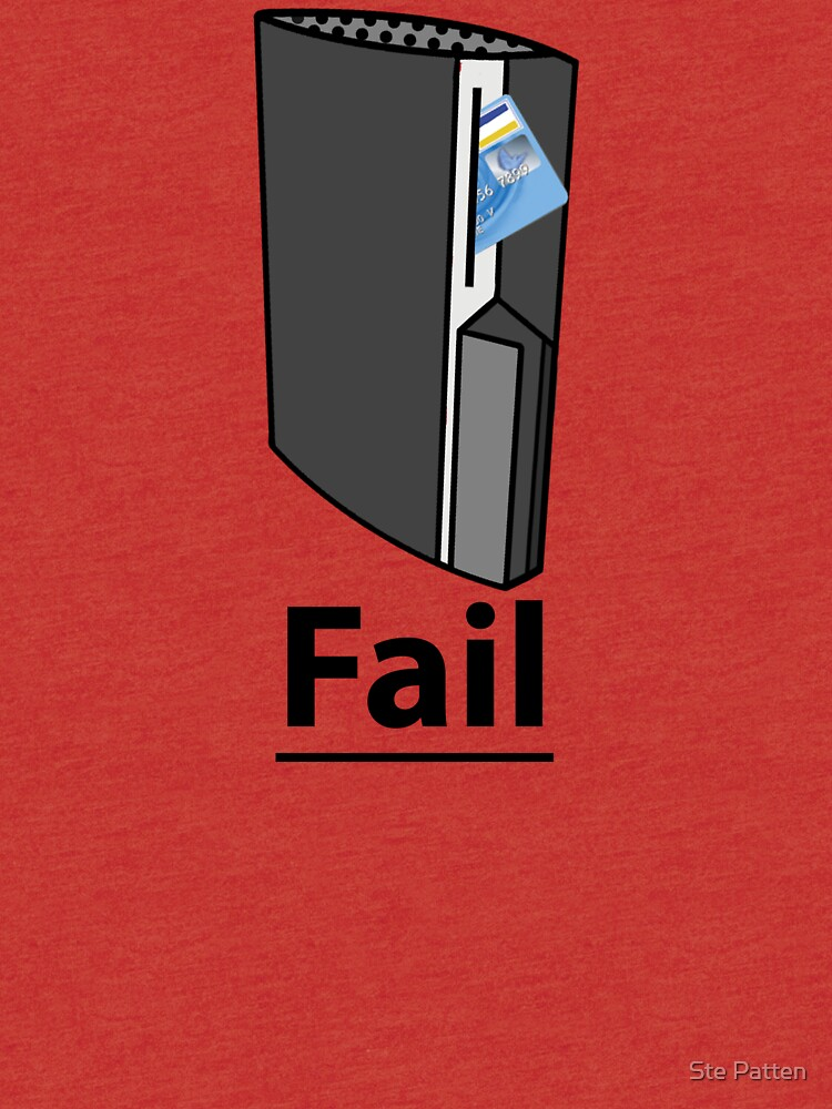PS3 Fail, A playstation eating your credit card, comedy gamer design  |  Tri-blend T-Shirt
