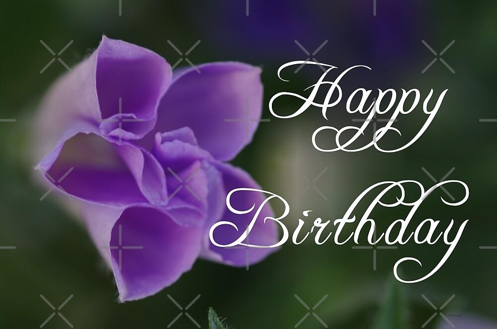 Purple Flower Happy Birthday by rom01