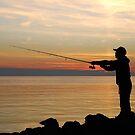 Fisherman at sunset by Adri  Padmos