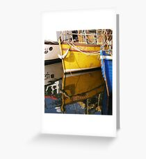 Yellow Boat Reflection Greeting Card