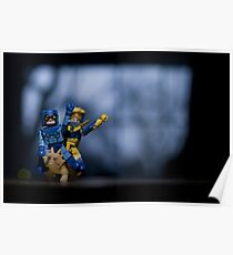 Booster Gold and Blue Beetle riding a Triceratops Poster