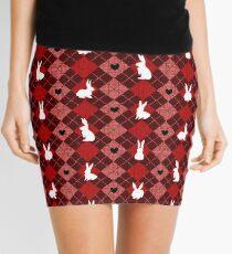 Red Argyle White Bunny Love Mini Skirt