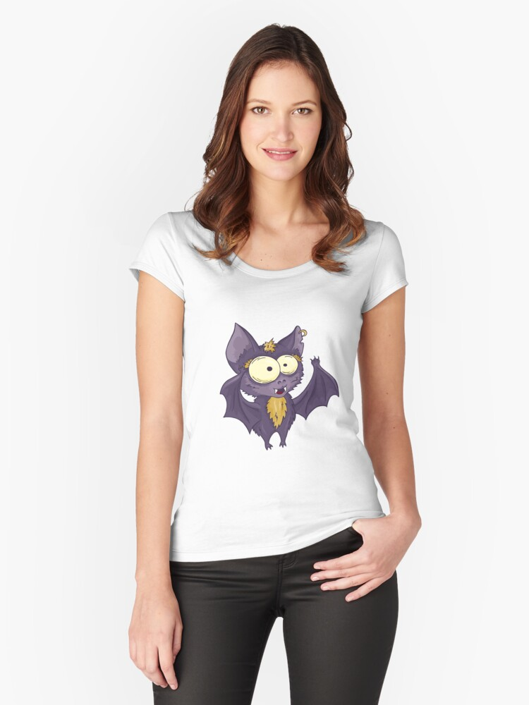 Hand drawn cute bat Women's Fitted Scoop T-Shirt Front