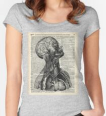 Medical Human Anatomy Illustration Over Old Book Page Women's Fitted Scoop T-Shirt