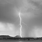 Lightning Twine Striking the CO Rocky Mountain Foothills BW by Bo Insogna