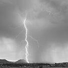 Lightning Strike Colorado Rocky Mountain Foothills BW by Bo Insogna