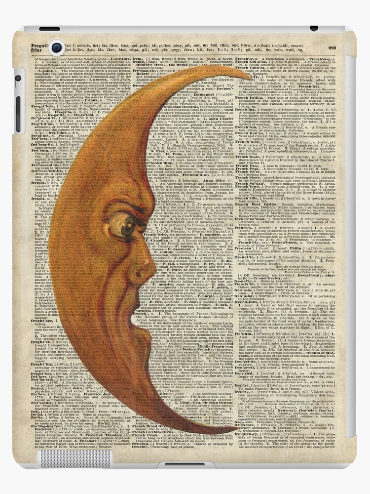 \u0027Vintage Half Moon Face Dictionary Art\u0027 iPad Case/Skin by DictionaryArt