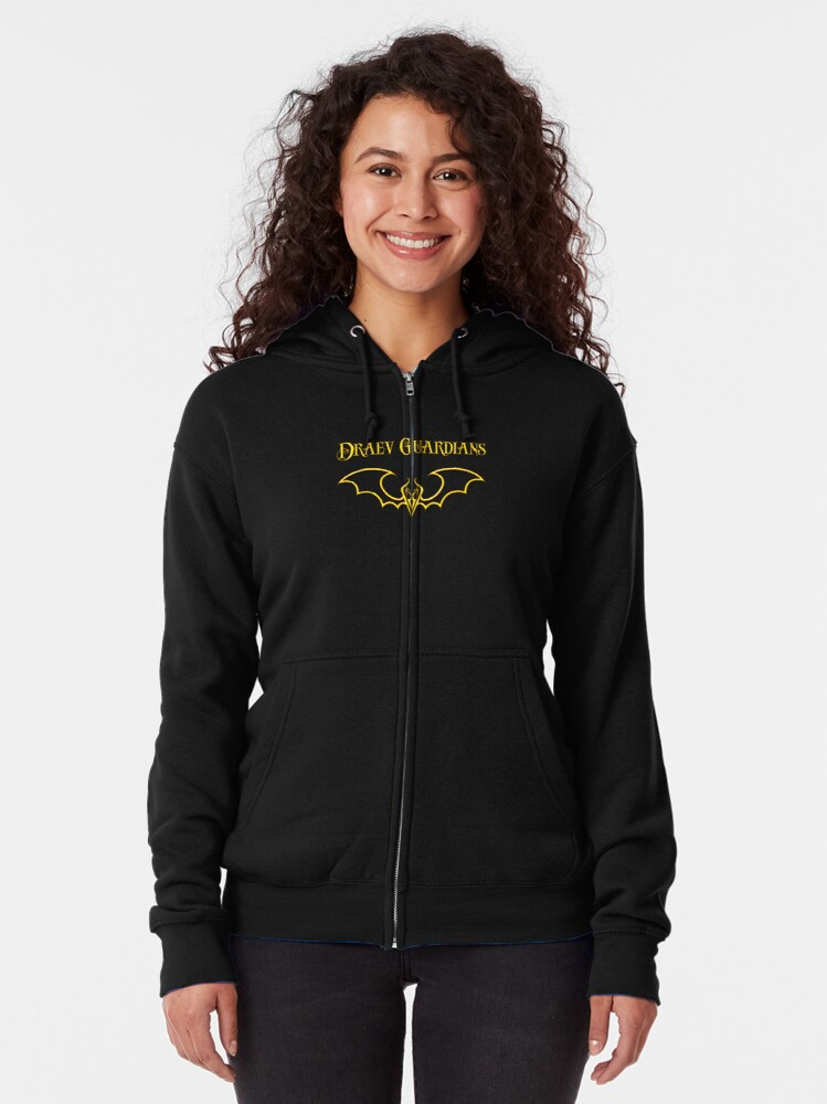 Alternate view of Draev Guardians fang wing symbol Zipped Hoodie