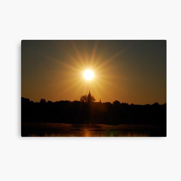 Sun, church and lake Canvas Print