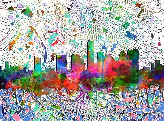 Austin skyline watercolor by BekimART