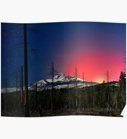 Three Fingered Jack Sunset  ~ Oregon Cascades ~ Poster