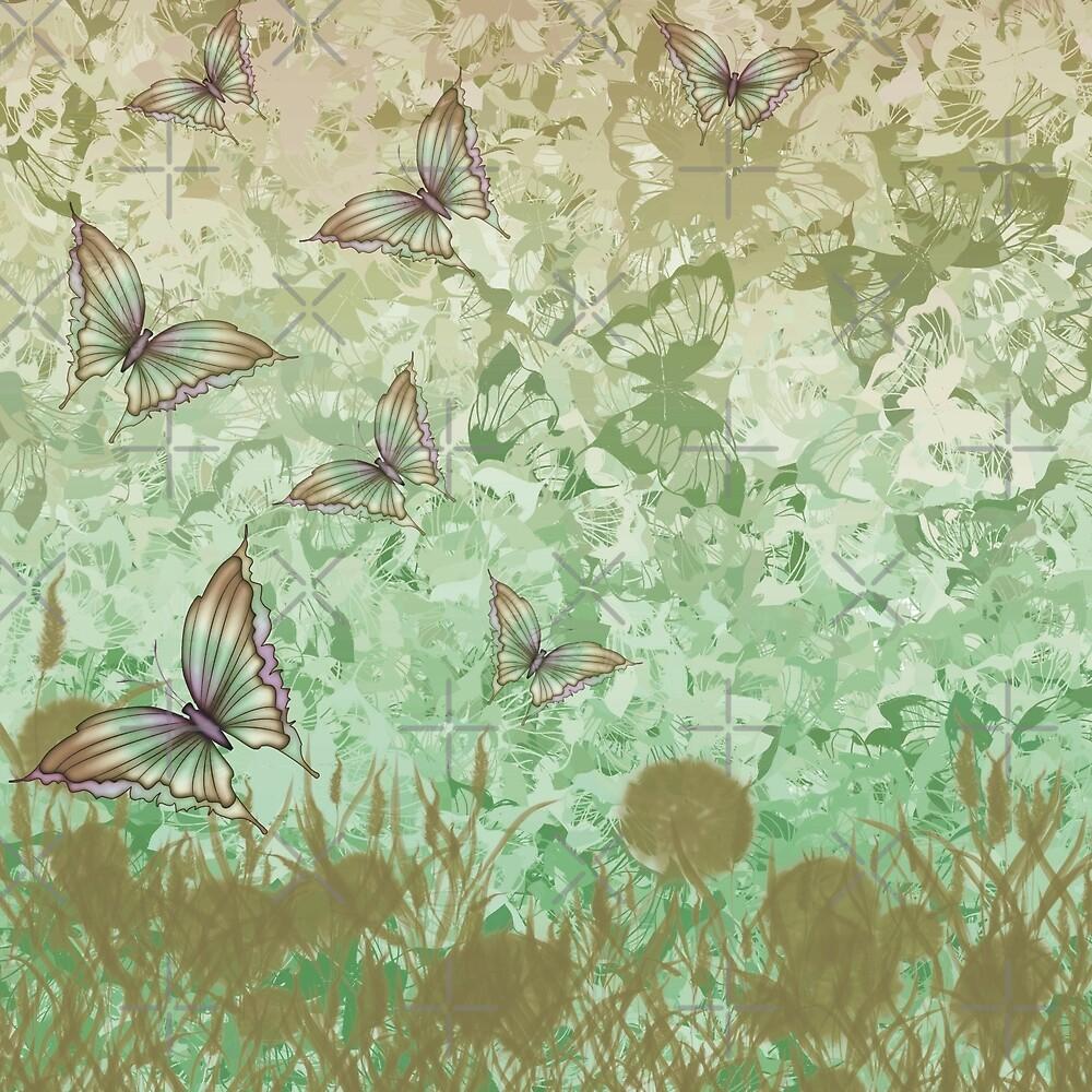 Butterflies Flutter By - Green by alliemac