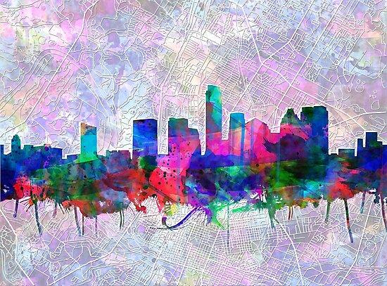 Austin skyline watercolor 3 by BekimART